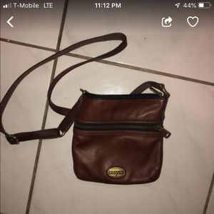 Leather Fossil cross body bag